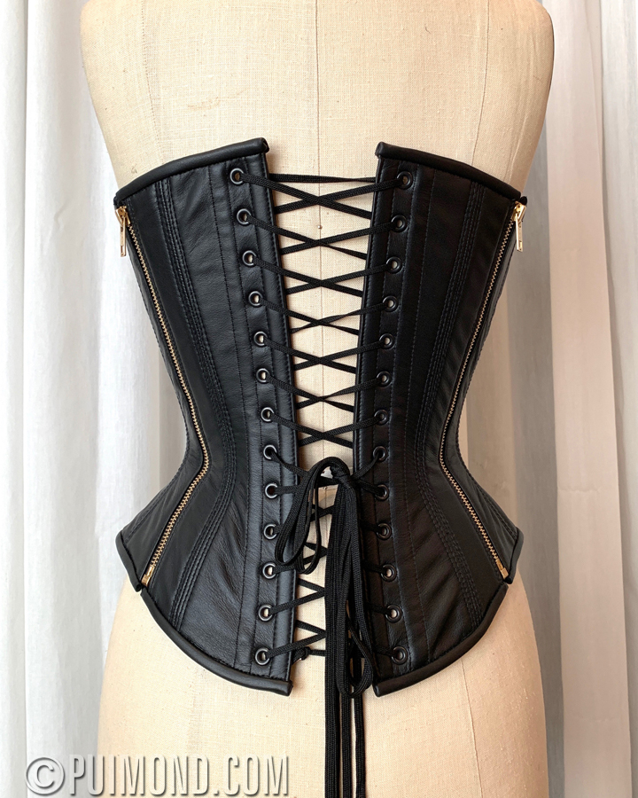 d719d6abb Leather back and sides with metal zips for convenience and style. Back  lacing garter belt custom sized to fit around the waist